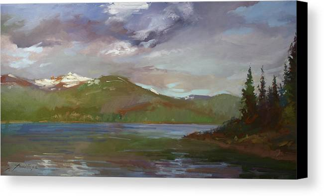 Murals Canvas Print featuring the painting Chimney Rock At Priest Lake Plein Air by Betty Jean Billups