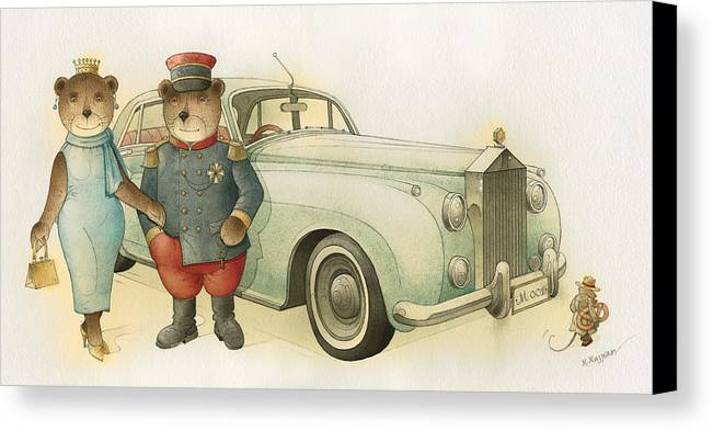 Bears Love Queen Limousine Rolls-royce Flirt Fashion Canvas Print featuring the painting Florentius The Gardener08 by Kestutis Kasparavicius