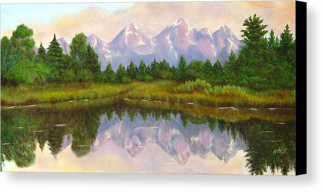 Landscape Canvas Print featuring the painting Grand Tetons by Merle Blair
