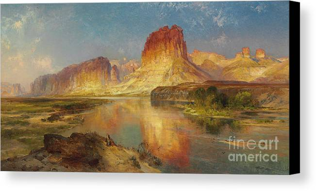 American Painting; American; Landscape; Castle Rock; Formation; Cliffs; Rocks; Reflection; Peaceful; Tranquil; Calm; Green River Of Wyoming Canvas Print featuring the painting Green River Of Wyoming by Thomas Moran
