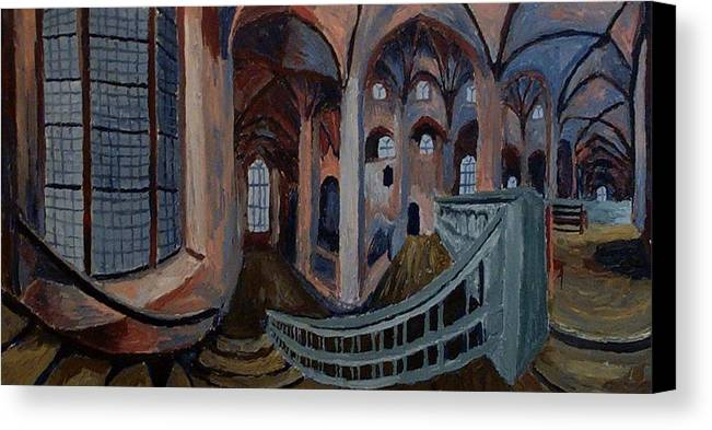 Achitecht Canvas Print featuring the painting Inside The Church by Mats Eriksson