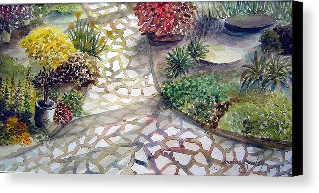 Garden Path Plants Canvas Print featuring the painting Jennifers Garden by Joanne Smoley