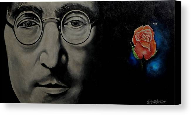 Peace Canvas Print featuring the painting John Lennon - Peace by Eddie Lim