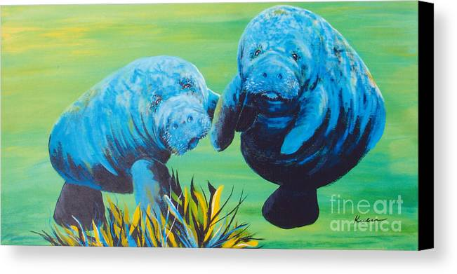 Manatee Canvas Print featuring the painting Manatee Love by Susan Kubes