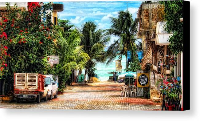 Mexico Canvas Print featuring the photograph Mexican Side Street by Gina Cormier