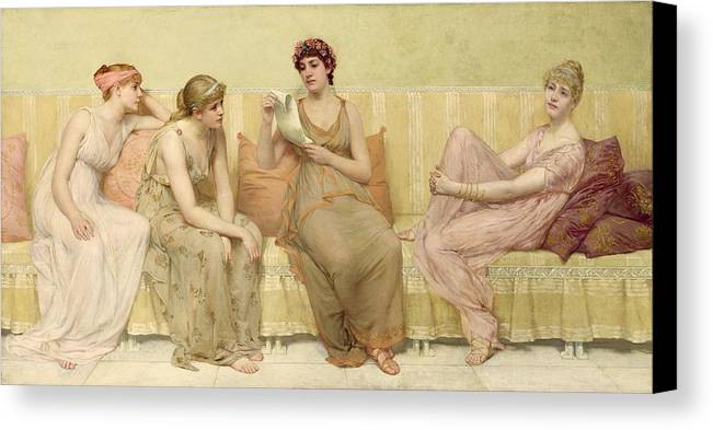 Reading Canvas Print featuring the painting Reading The Story Of Oenone by Francis Davis Millet