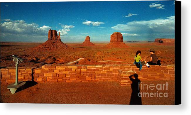 Landscape National Park People Blue Sky Red Rock Cloud Canvas Print featuring the photograph Relax At Mounment Park by Ty Lee