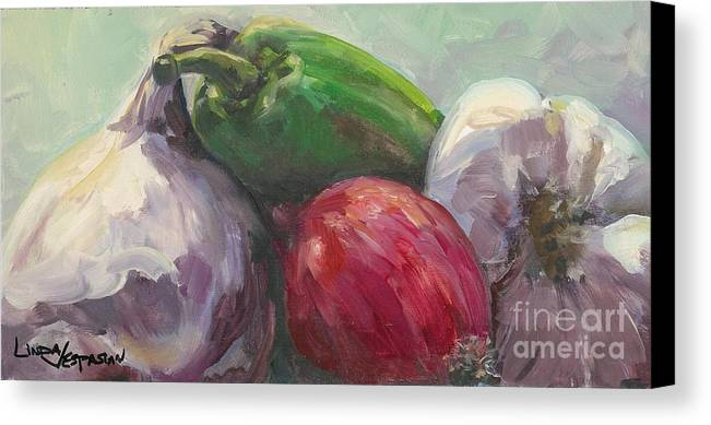 Vegetable Canvas Print featuring the painting Salsa by Linda Vespasian
