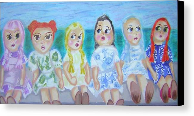Dolls Canvas Print featuring the painting Shut Up And Look Pretty by Michelley QueenofQueens