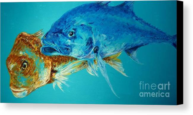 Fish Canvas Print featuring the painting Speedster And The Brute by Phillip Eames