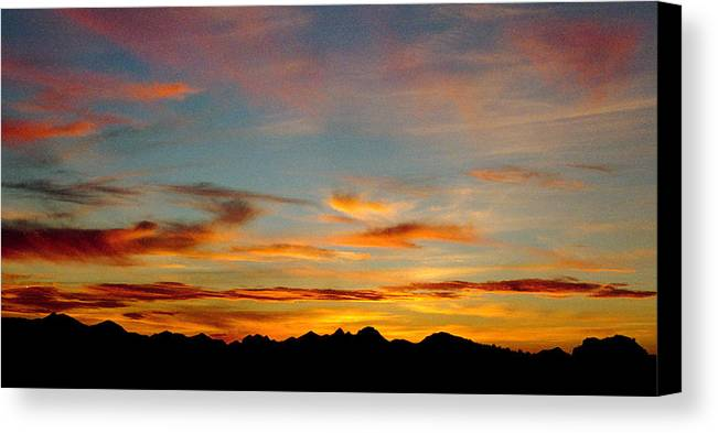 Arizona Sunset Canvas Print featuring the photograph Usery Sunset by Randy Oberg
