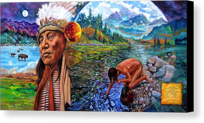 Indian Canvas Print featuring the painting What Is Life by John Lautermilch