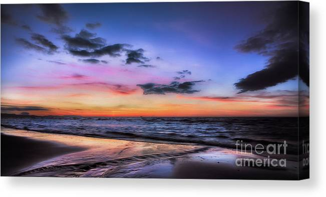 British Canvas Print featuring the photograph Sunset Seascape by Adrian Evans