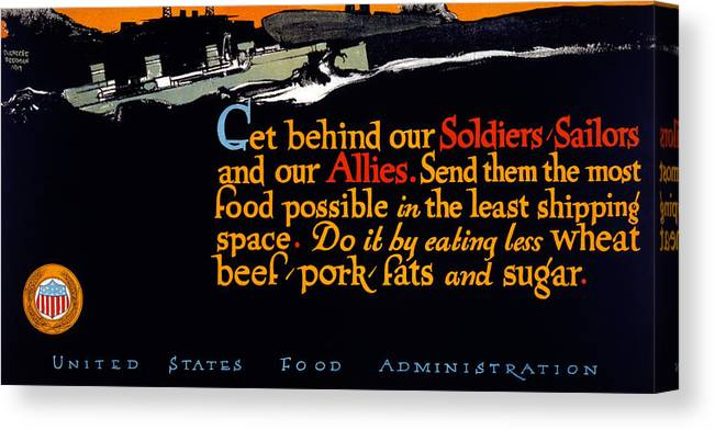 1917 Canvas Print featuring the painting Wwi Food Supply, 1917 by Granger