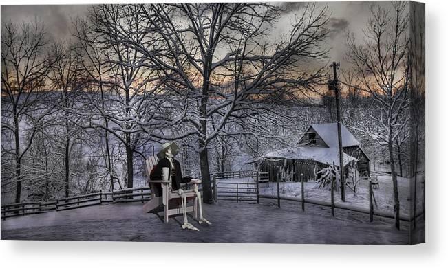 Humans Canvas Print featuring the digital art Sam Visits Winter Wonderland by Betsy Knapp