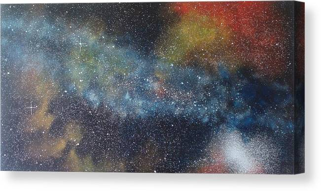 Space;stars;starry;nebula;spiral;galaxy;star Cluster;celestial;cosmos;universe;orgasm Canvas Print featuring the painting Stargasm by Sean Connolly