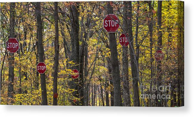 Stop Canvas Print featuring the photograph Stop A Subtle Suggestion To Keep Out by Jeannette Hunt