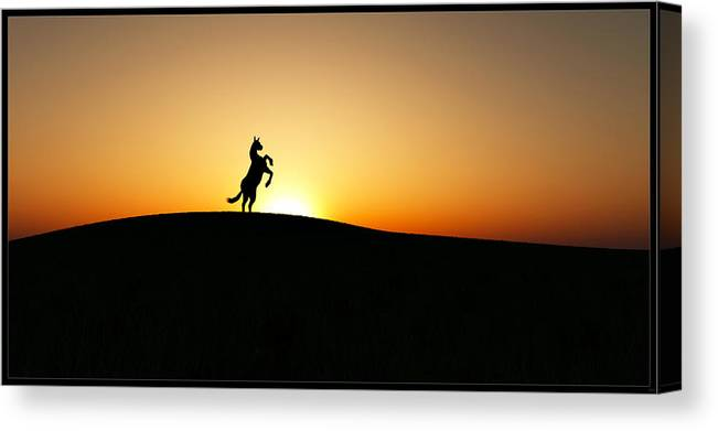 Landscape Canvas Print featuring the mixed media The Stallion by Tim Fillingim
