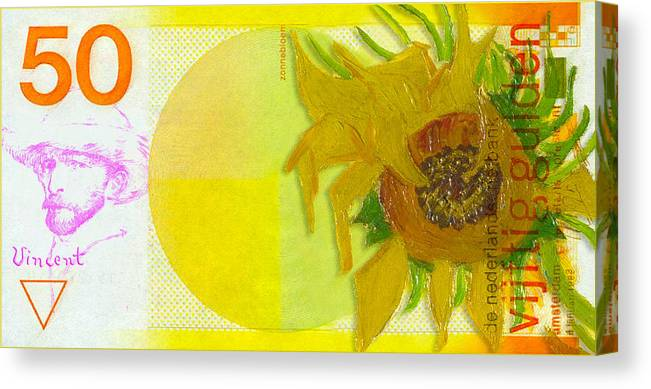 van goghs 50 gulden note with his sunflower canvas print / canvas