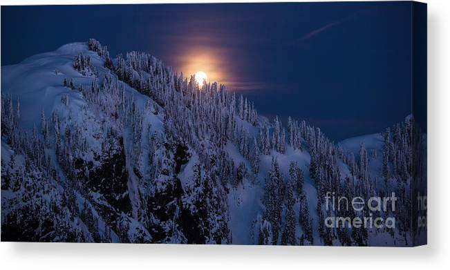 Moon Canvas Print featuring the photograph Winter Mountain Moonrise by Mike Reid