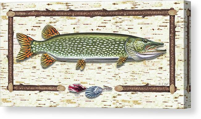 Pike Canvas Print featuring the painting Antique Birch Pike And Lure by JQ Licensing