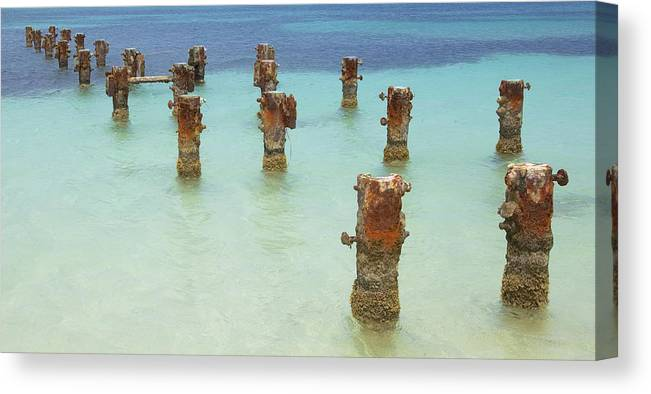 Aruba Canvas Print featuring the photograph Rusted Iron Pier Dock by David Letts