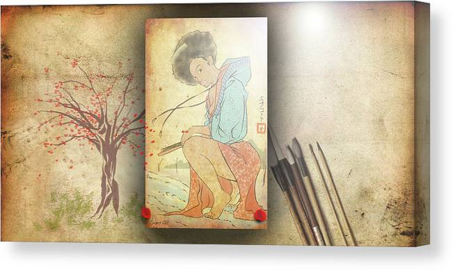 Japanese Art Canvas Print featuring the digital art Ukyo-e Soul by Baroquen Krafts