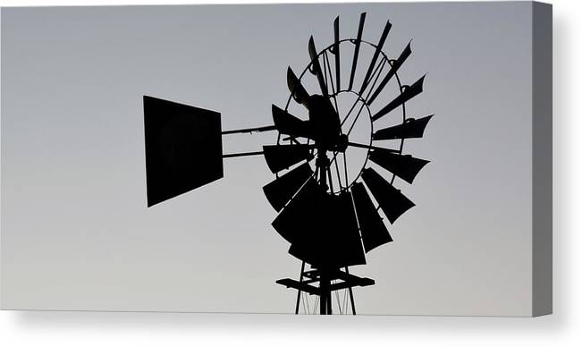 Landscape; Early; Morning Light; Swartland; South Africa; Sky; Grey; Windmill Water Pump; Windmill; Farm Land; Panorama; Canvas Print featuring the photograph Windmill... by Werner Lehmann