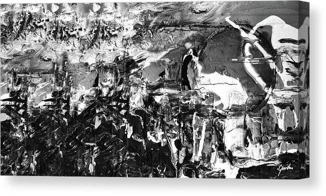 Army Of Men Contemporary Black And White Abstract Art Painting Canvas Print