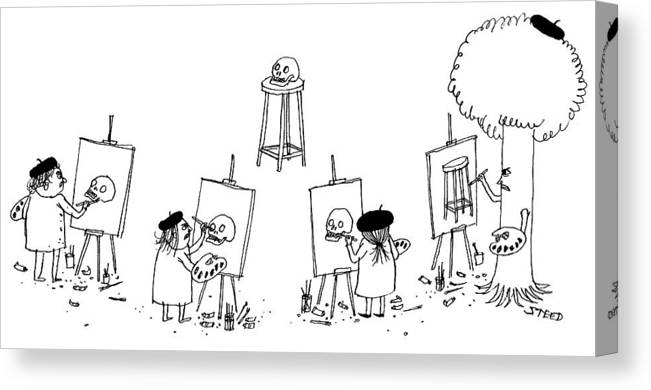 Tree Canvas Print featuring the drawing Art Class by Edward Steed