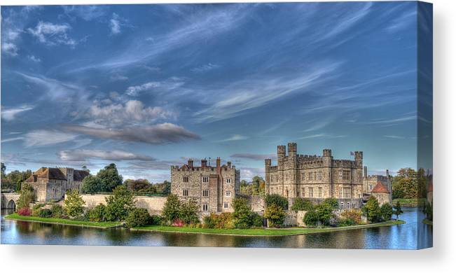 Leeds Castle Canvas Print featuring the photograph Leeds Castle And Moat Rear View by Chris Thaxter