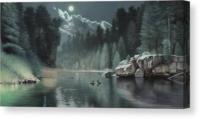 Loon Painting River Teal Green Rocks Boulder Pine Trees Forest Moon Cloud Wildlife Duck Loons Canvas Print featuring the painting Moonlit Waters-loons by Daniel Pierce