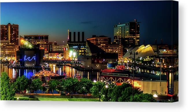 Baltimore Canvas Print featuring the photograph Night View Inner Harbor by Carol Ward