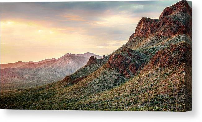 Mountains Canvas Print featuring the photograph Sunset by Elaine Malott