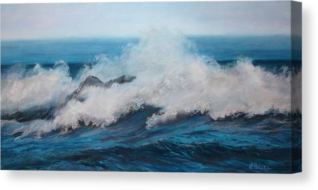 Ocean Canvas Print featuring the pastel Wave by Linda Preece