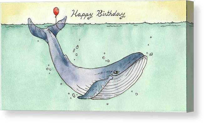 Birthday Canvas Print Featuring The Painting Whale Happy Card By Katrina Davis