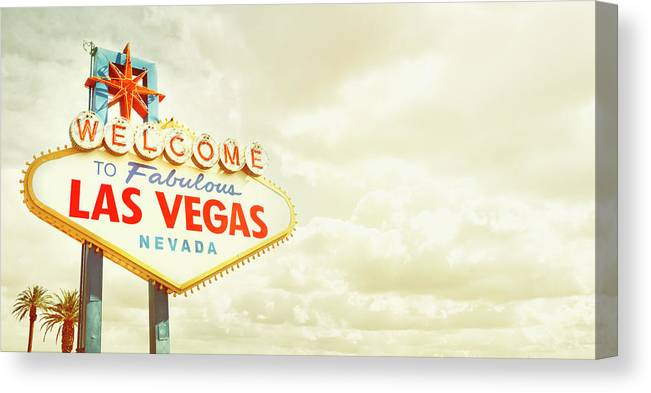 Panoramic Canvas Print featuring the photograph Vintage Welcome To Fabulous Las Vegas by Powerofforever