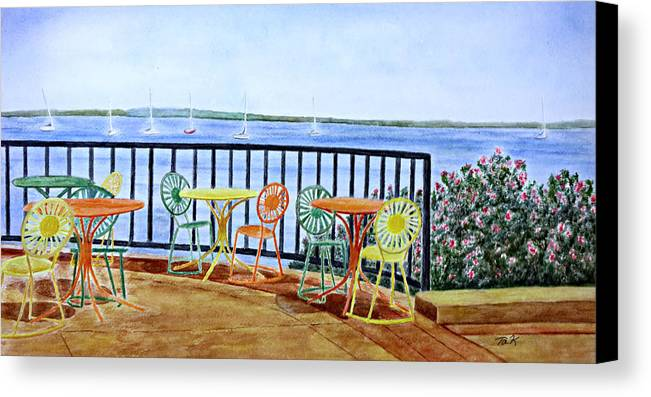 Watercolor Canvas Print featuring the painting The Terrace View by Thomas Kuchenbecker