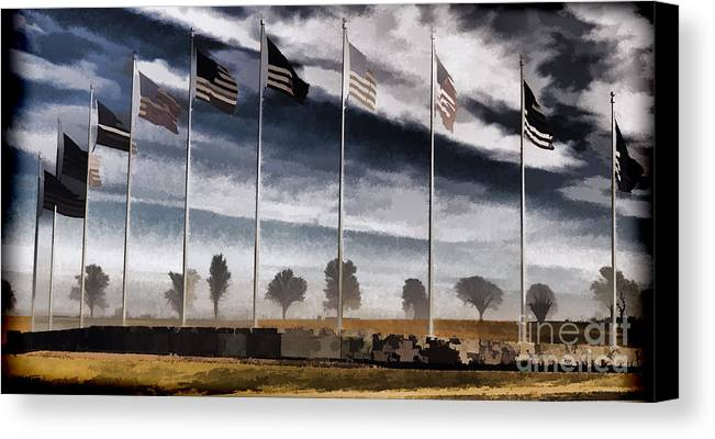 Flag Still Standing Canvas Print featuring the photograph American Flag Still Standing by Luther Fine Art