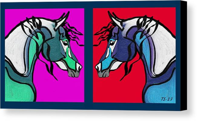 Arabian Canvas Print featuring the digital art Brothers In Colors II by Tarja Stegars