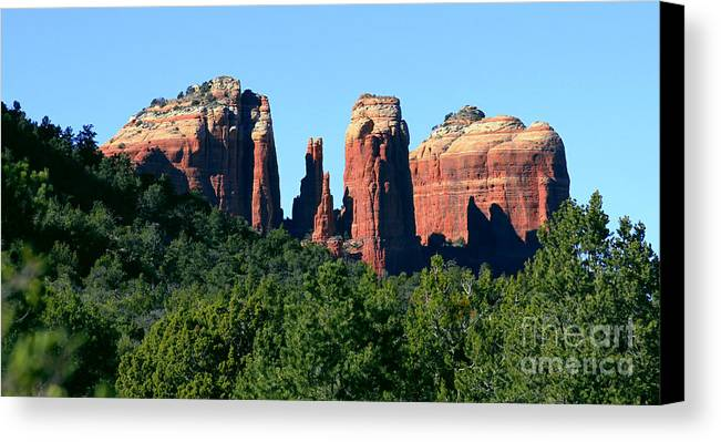 Arizona Canvas Print featuring the photograph Cathedral Rock Behind The Forest by Yousif Hadaya