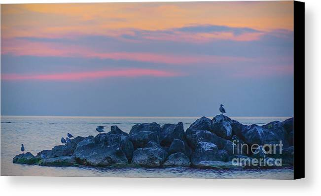 Nature Canvas Print featuring the digital art Lake Erie Twilight 2014 by Kathryn Strick