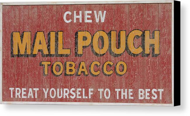 Sign Canvas Print featuring the painting Mail Pouch Sign by Bill Jonas