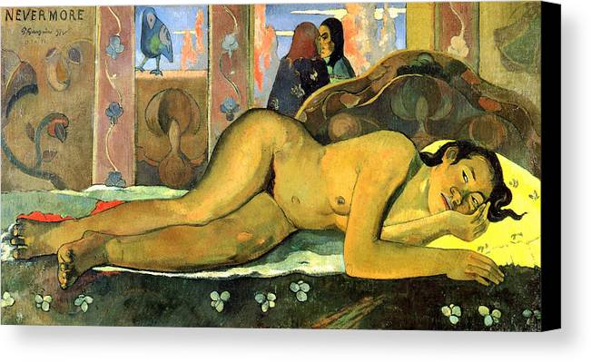 Paul Gauguin Canvas Print featuring the painting Nevermore.o Taiti by Paul Gauguin