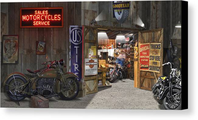 Motorcycle Shop Canvas Print Featuring The Photograph Outside The  Motorcycle Shop By Mike McGlothlen