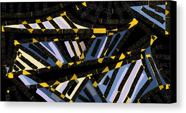 Canvas Print featuring the digital art Escalators by Beebe Barksdale-Bruner