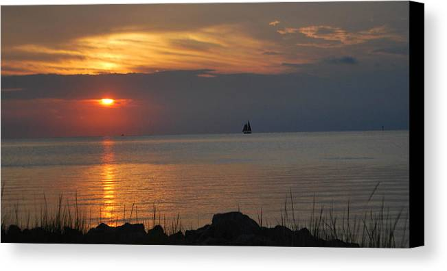 Sunset Canvas Print featuring the photograph Sunset At Ocracoke by Julie Strickland