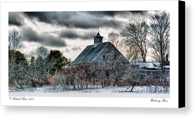 Architecture Canvas Print featuring the photograph Wintering Barn by Richard Bean