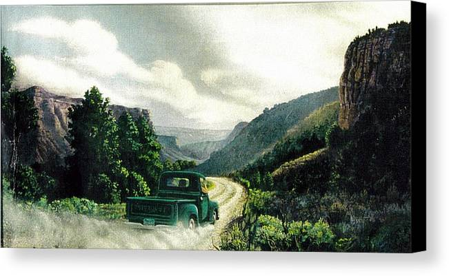 Landscape Canvas Print featuring the print '50 Chevy Pickup In Unaweep Canyon by Lee Bowerman