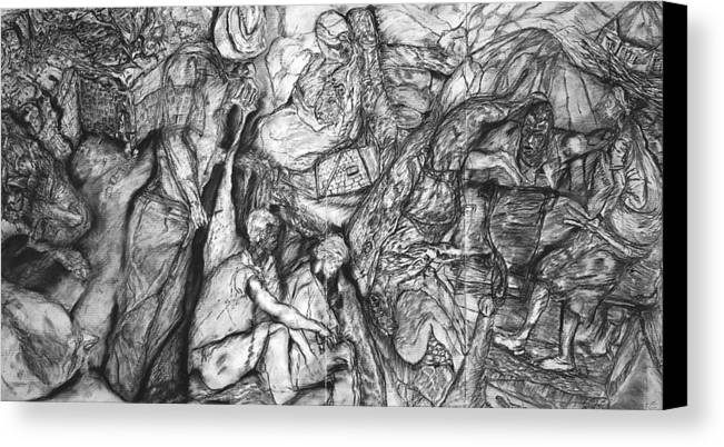 Graphite; Ethnic; Spiritual; Fragmented Art;drawing Canvas Print featuring the drawing A Village by Arlene Rabinowitz